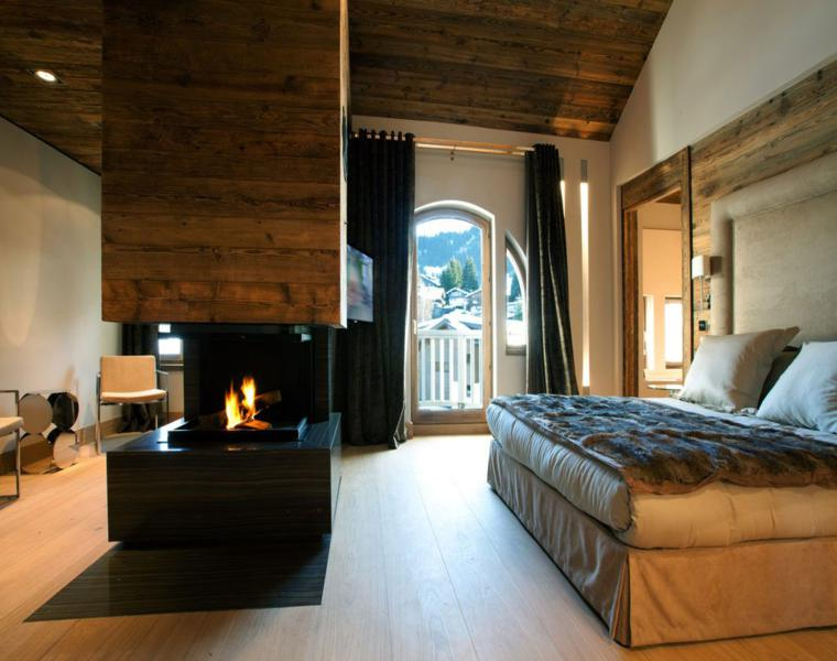 dormitorio moderno cortinas oscuras