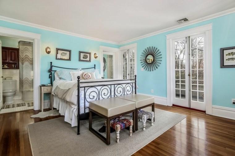 dormitorios clásicos estilo cama acero paredes azules ideas
