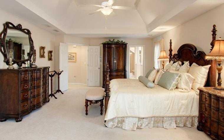 dormitorios clasicos estilo comoda cama madera ideas