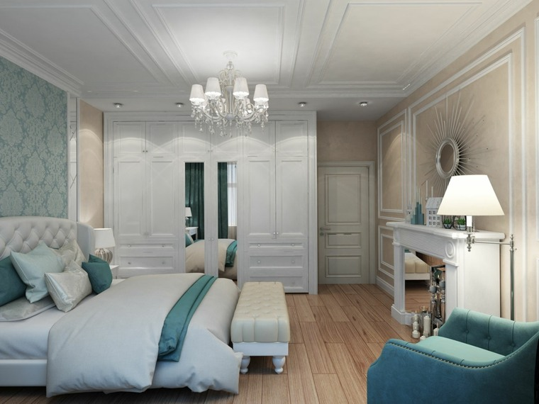 dormitorios clasicos estilo diseno toques azul claro ideas