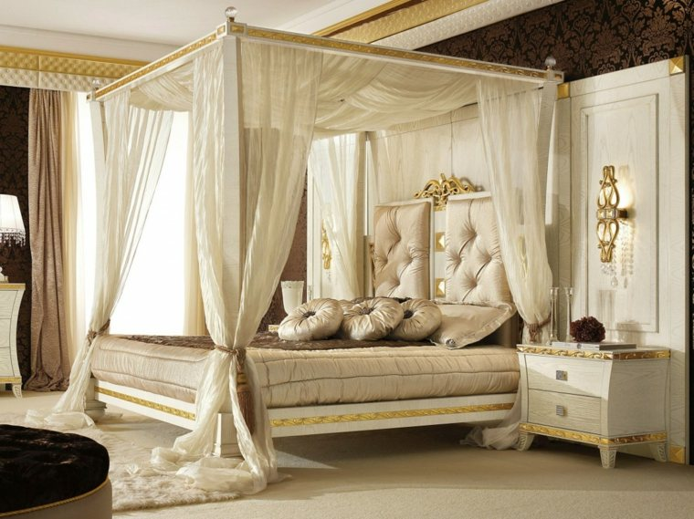 dormitorios clasicos estilo dosel lujoso blanco opciones ideas