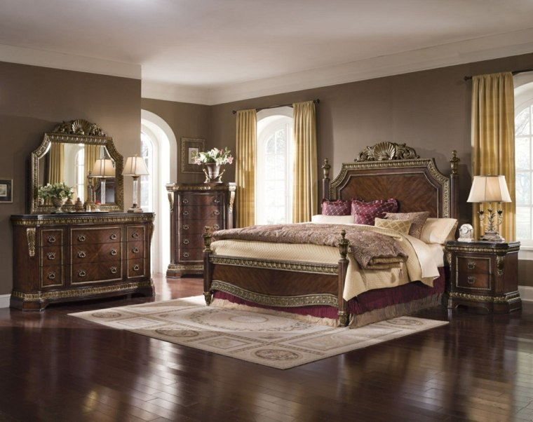 dormitorios clasicos estilo suelo muebles madera oscura ideas