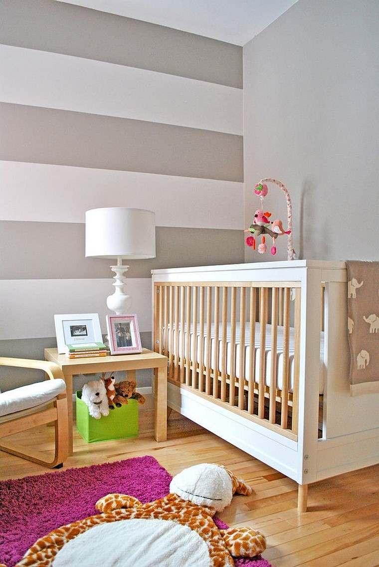 dormitorios de bebes cuna color blanco pared rayas ideas