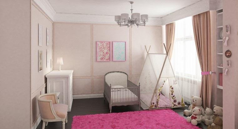 dormitorios de bebes diseno alfombra rosa moderna ideas