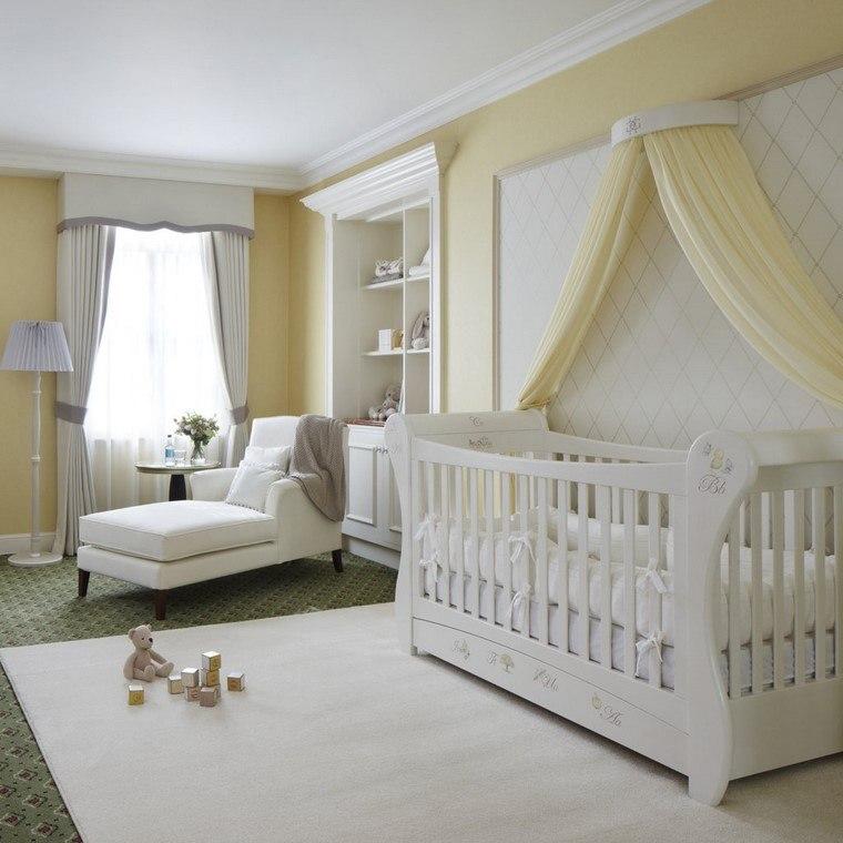 dormitorios de bebes diseno blanco amarillo opciones ideas