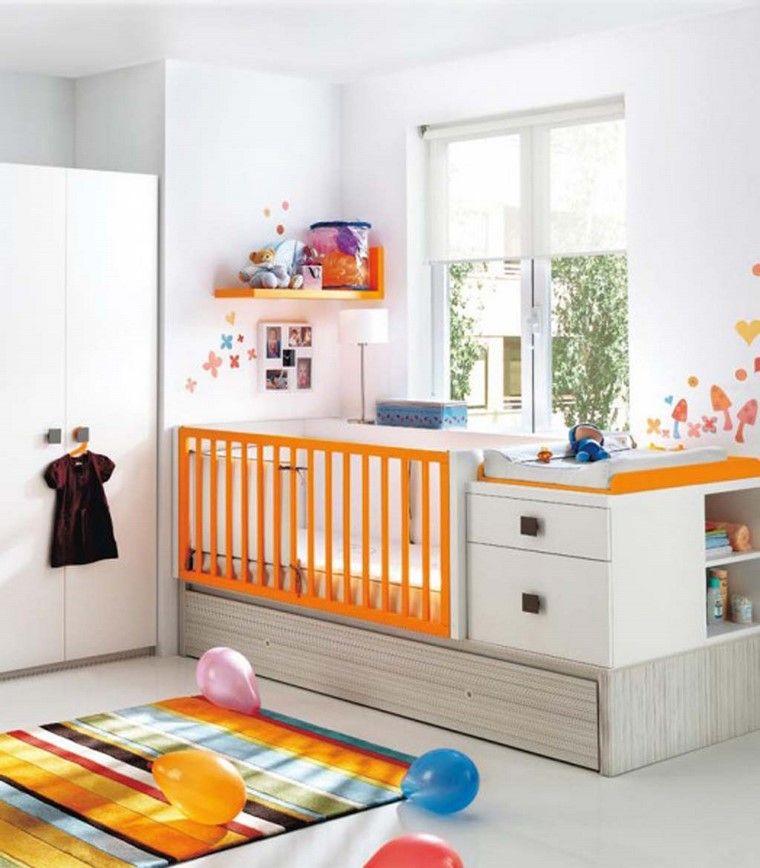 dormitorios de bebes diseno cuna blanco naranja ideas