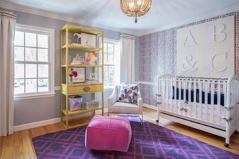 dormitorios de bebes diseno glamuroso alfombra ideas