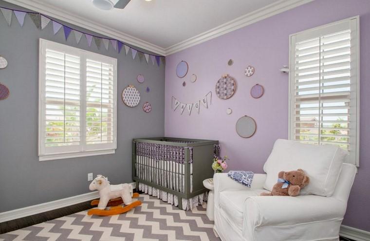 dormitorios de bebes gris lavanda diseno ideas