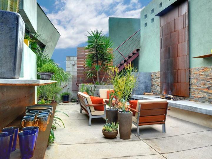 eclactica terraza materiales metal sofa
