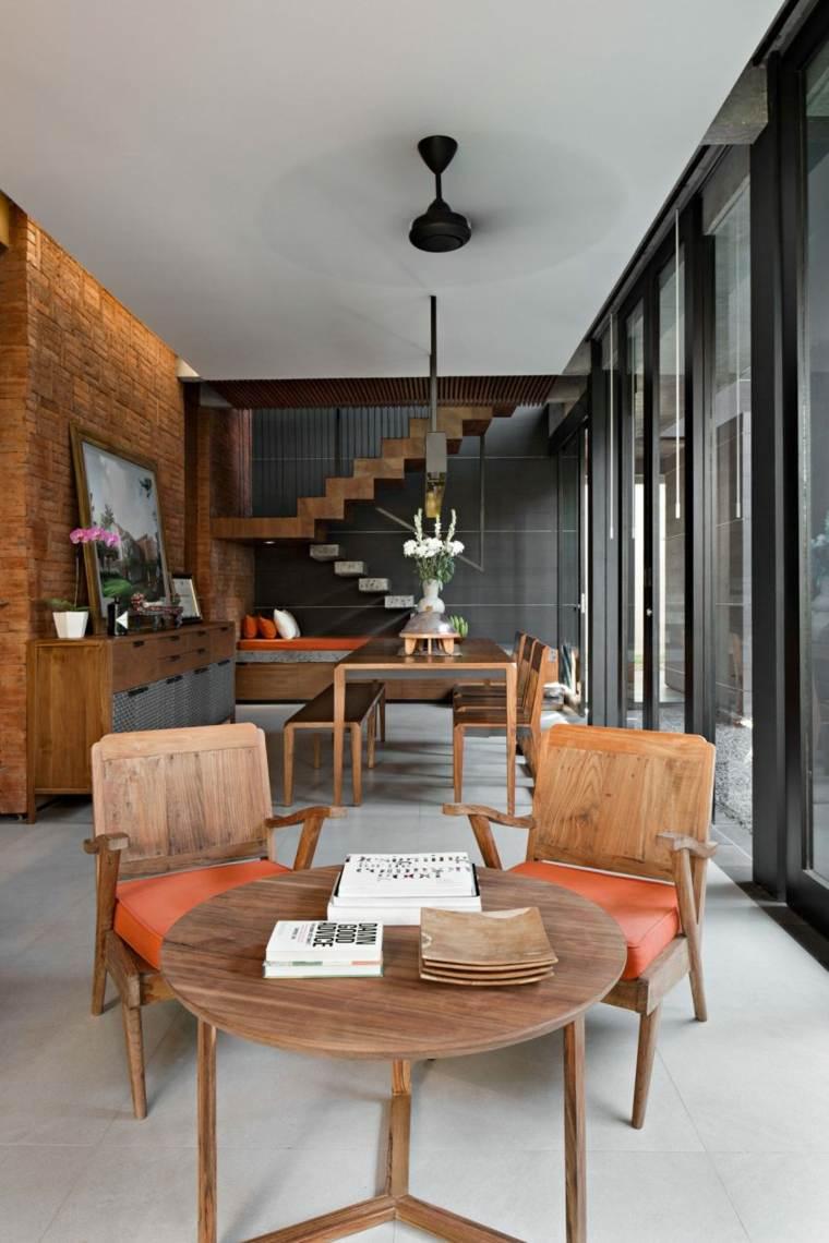 elegancia residencia cojines naranja muebles