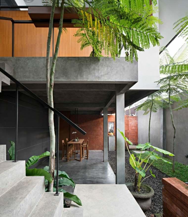 elegancia residencia comedor exterior plantas