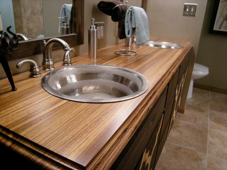 Encimeras de ba o para decorar y aumentar la modernidad - Encimera bano madera ...