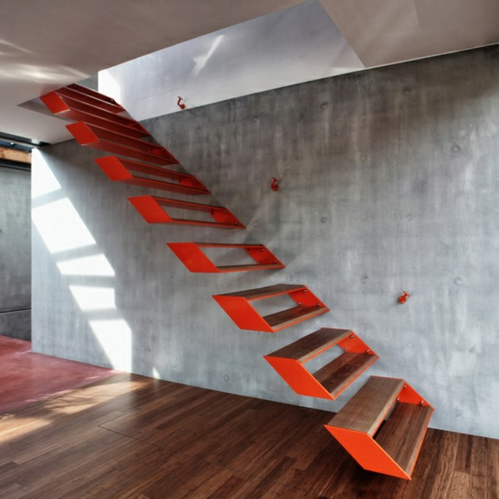escaleras de interior diseño flotantes estructura sillones