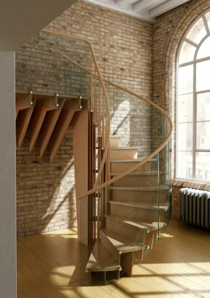 escaleras de interior diseño madera cuerdas ladrillos