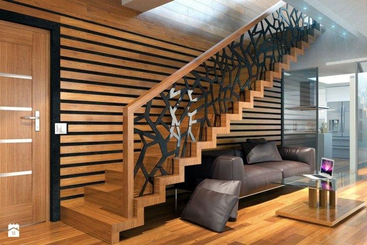 escaleras de interior diseño ramas arboles lineas