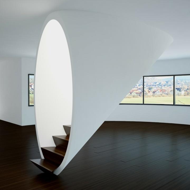 escaleras de interior diseño sillones ventanas