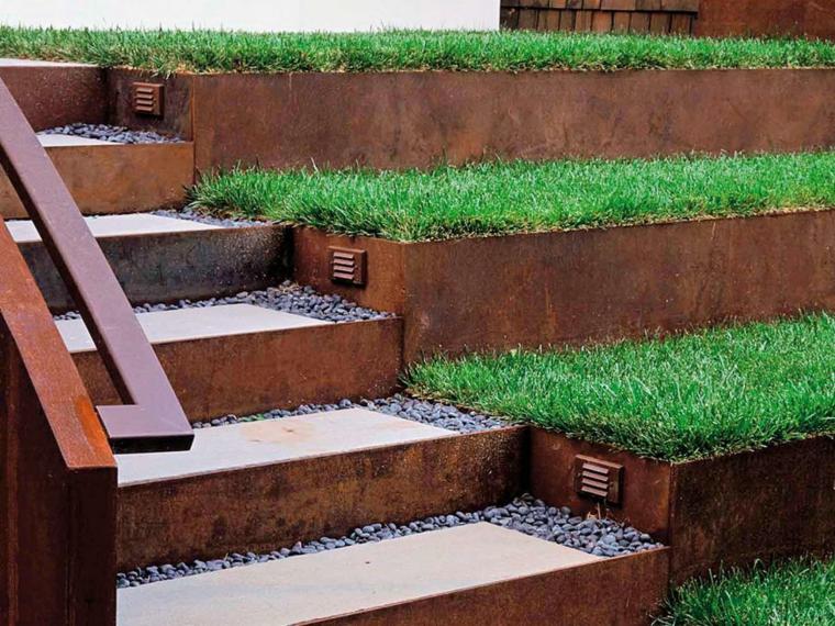 escaleras jardín acero corten