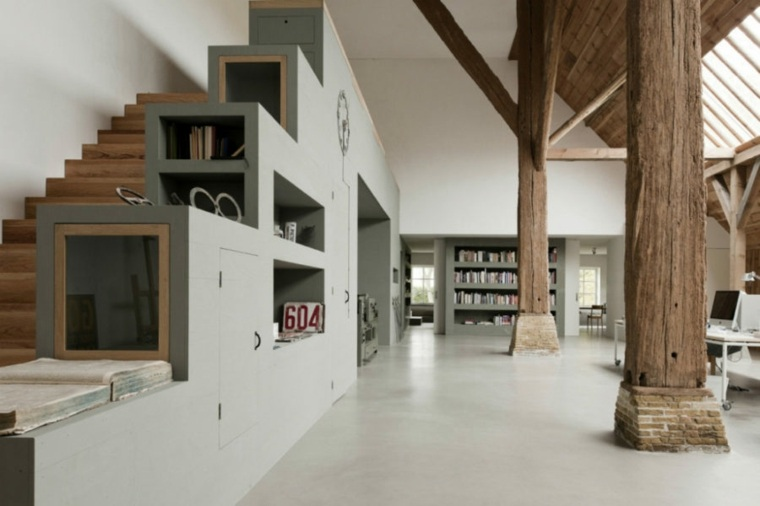 escaleras muebles grises contrastes cristales