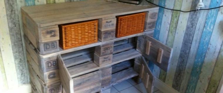 cómoda madera palet cocina