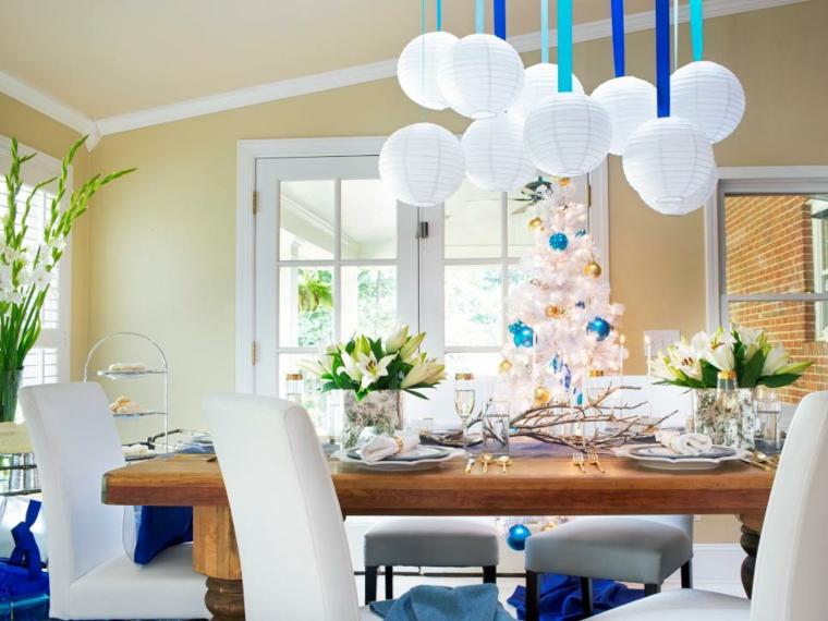 fiesta azules blanco tonalidades lamparas