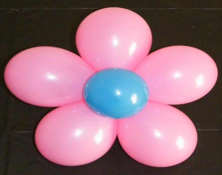 flor globos colores rosa azul
