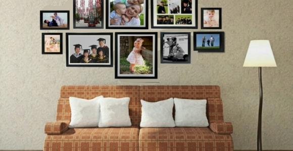 Mural de fotos para la decoración de los interiores