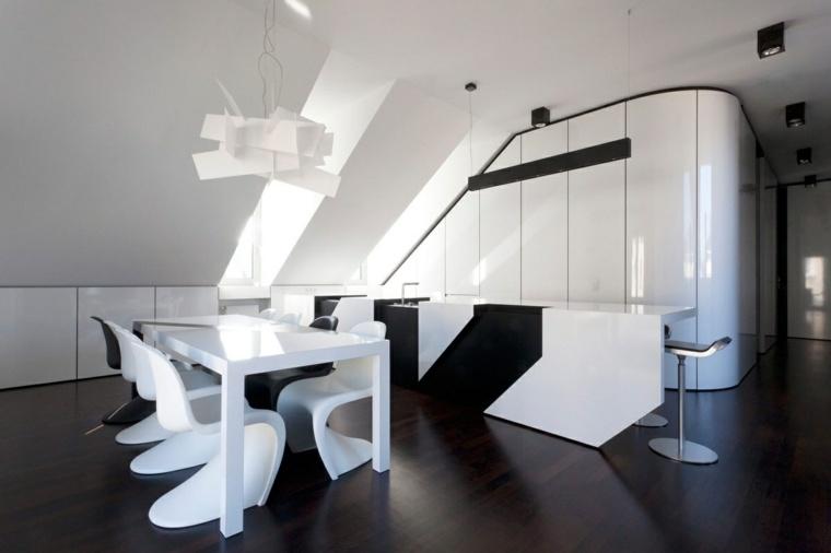 geometrica futurista madera oscura lamparas
