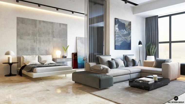 gris escalado paredes moderno cojines