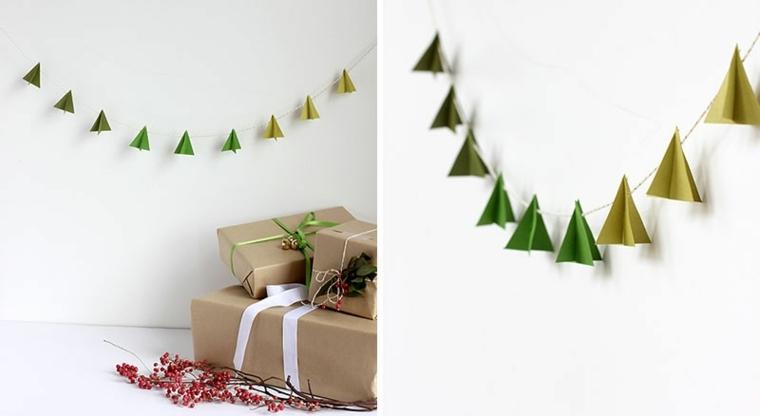 guirnalda navideña pequeños abetos verdes