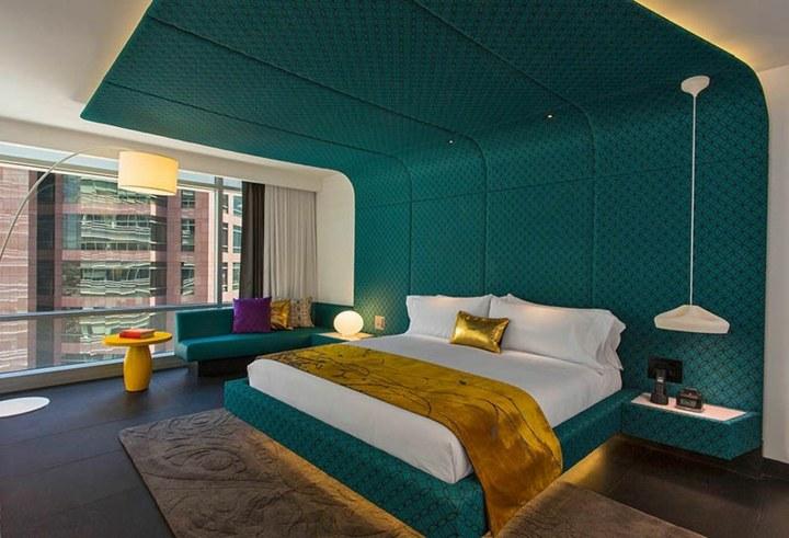 hoteles habitaciones lamparas colores dorados