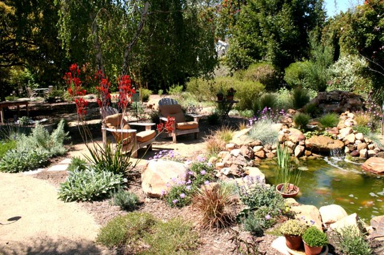 jardin rocalla estanque natural