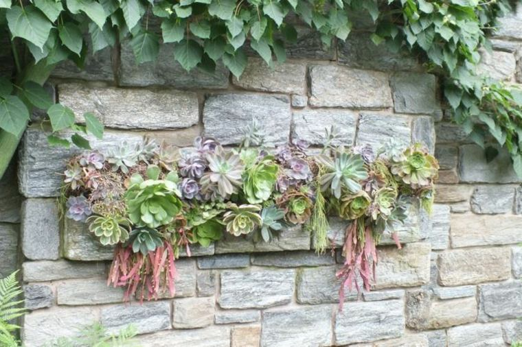 jardin vertical plantas colores pared