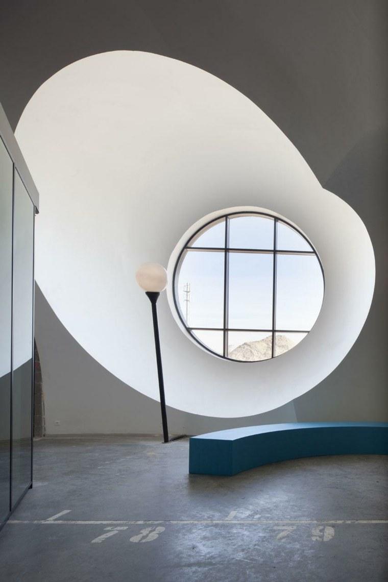 la ventana acero circular cuadros lamparas