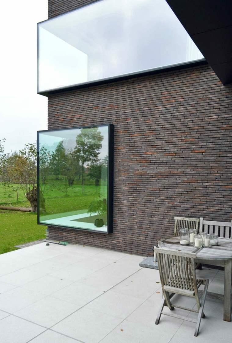 la ventana ladrillos materiales casas cesped