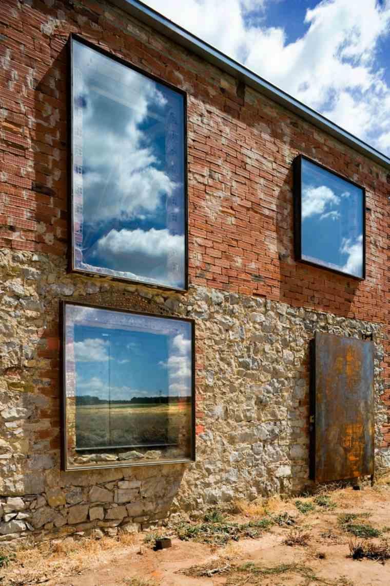 la ventana rocas paredes exteriores rusticos