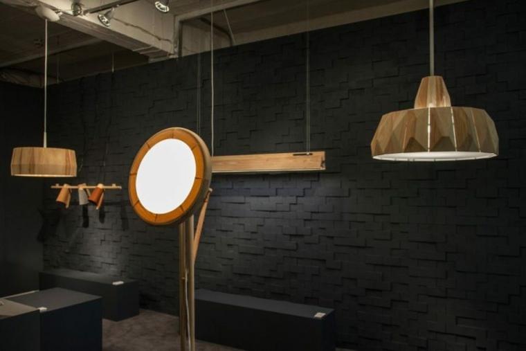 lámparas de madera originales techo
