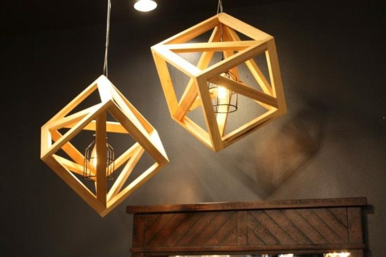 Lámparas de madera colgantes para los interiores -