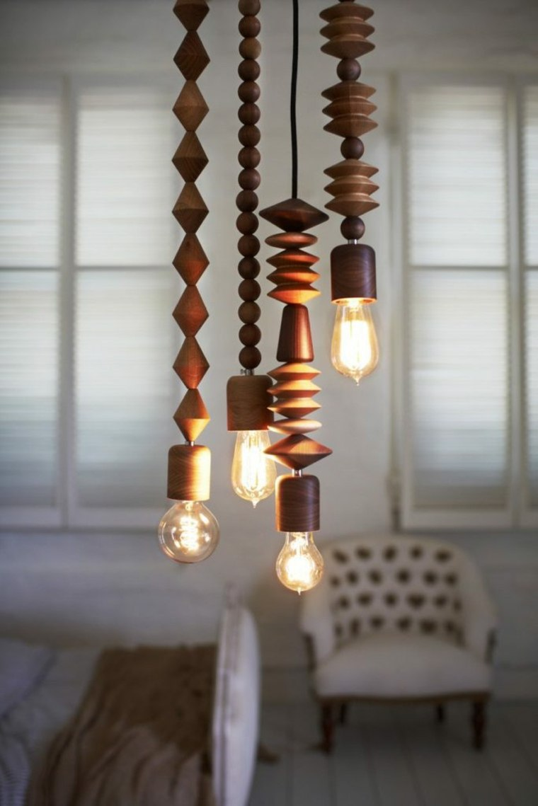 L mparas de madera colgantes para los interiores - Techos decorativos de madera ...