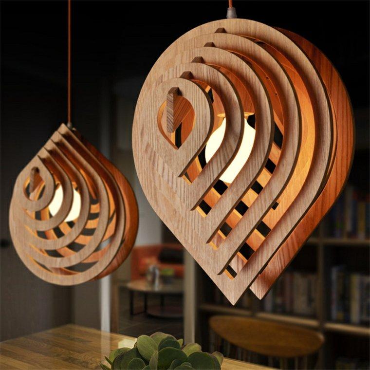 Lamparas De Madera Colgantes Para Los Interiores - Lamparas-de-techo-en-madera