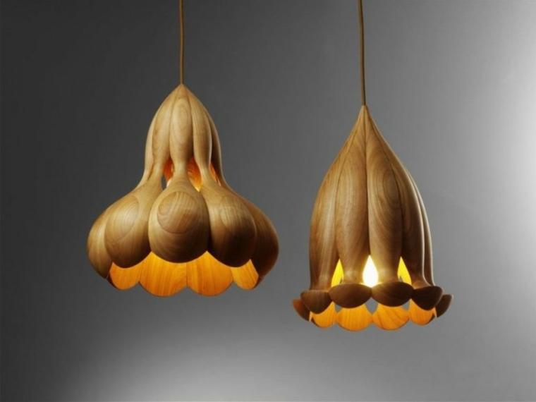 lámparas de madera techo