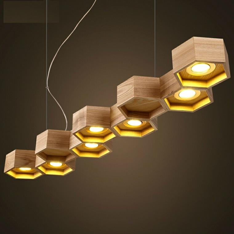 L mparas de madera colgantes para los interiores for Lamparas y plafones de pared