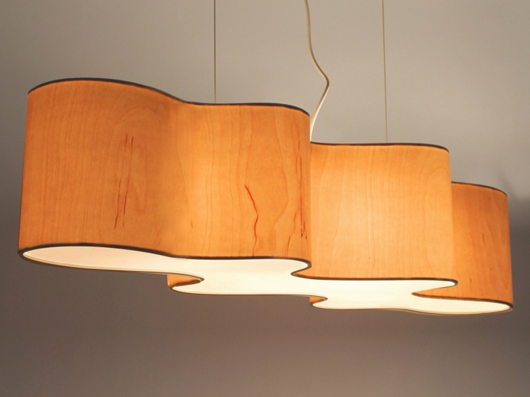 L mparas de madera colgantes para los interiores - Lampara de techo de madera ...