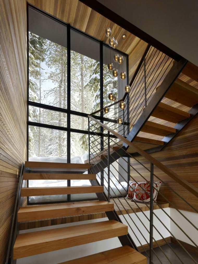 madera cristales cabana escalera esferas
