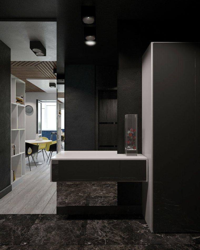marmol negro suelos detalle accesorios