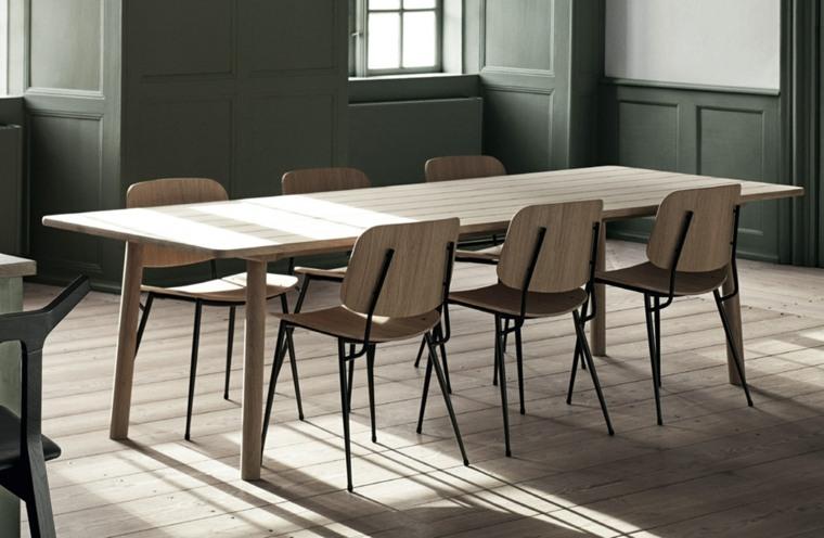 mesa comedor y sillas madera