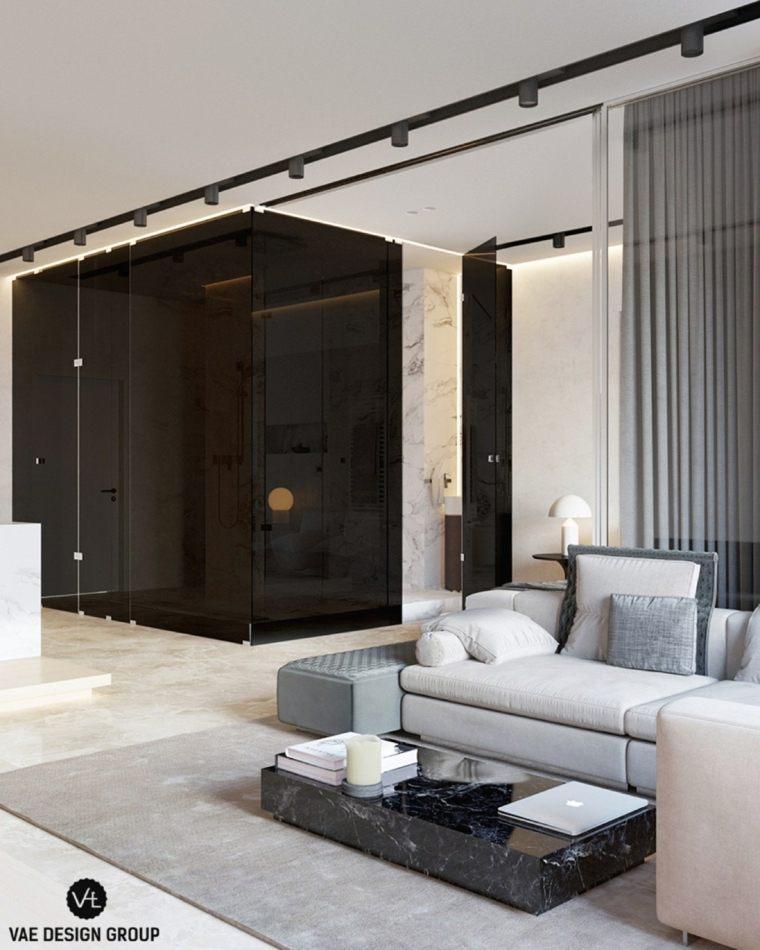 mesa contemporanea marmol negro ideas