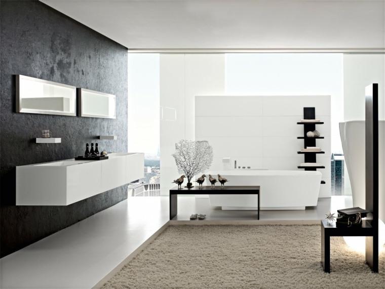 mesa cuarto bano colores claros estilos