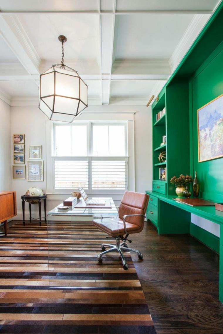 mobiliario diseño oficina verde geometricos