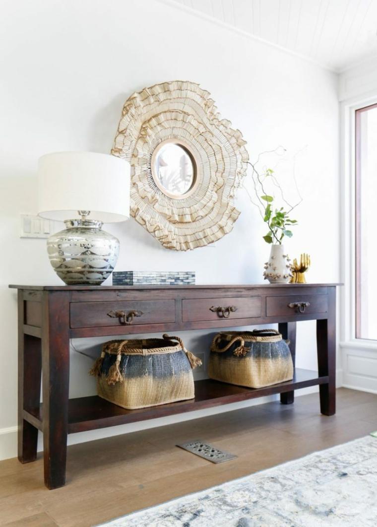 mueble recibidor espejo redondo volantes