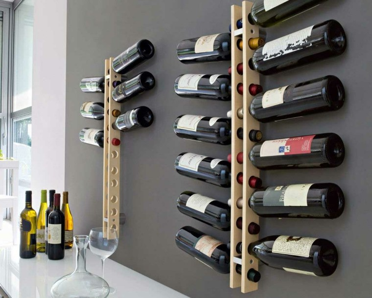 para botellas moderno con huecos en los que colocar las botellas